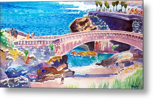 Seascape Metal Print featuring the painting Biarritz by Aymeric NOA