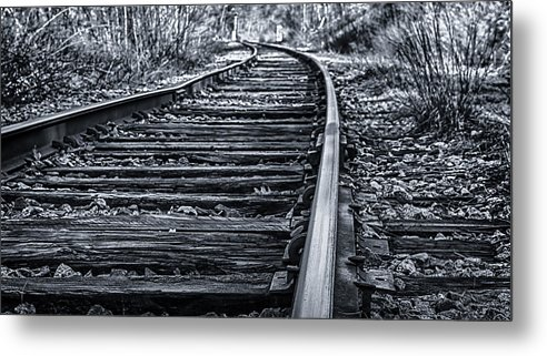 Black Metal Print featuring the photograph Bw Tracks by Mike Berry