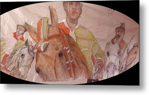 Il Palio. Horserace. Medieval. Siena.italy. Medieval. Event Metal Print featuring the painting Il Palio On Silk Two by Debbi Saccomanno Chan