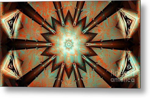 Abstract Metal Print featuring the digital art Kazzoo Spokes by Ron Bissett