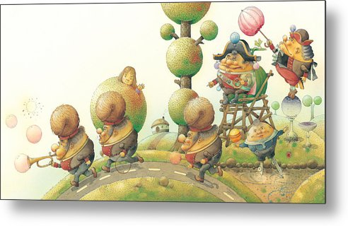 Green Lanscape King Metal Print featuring the painting Lisas Journey05 by Kestutis Kasparavicius