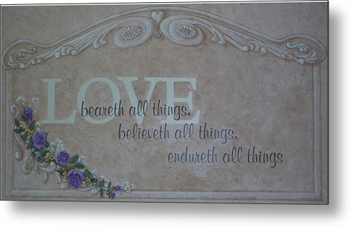 Scripture Metal Print featuring the painting Love by Sandra Poirier