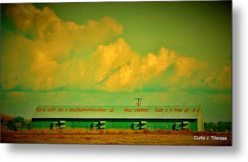 Landscape Metal Print featuring the photograph Low And Low Green Building by Curtis Tilleraas