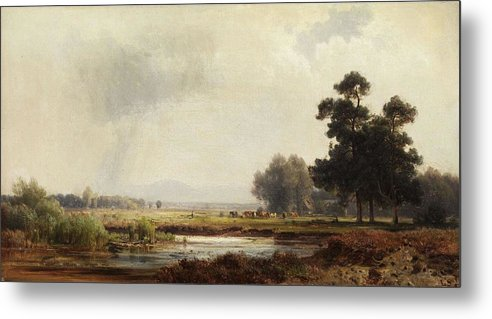 Nature Metal Print featuring the painting Ludwig Deutsch, Landscape by Ludwig Deutsch