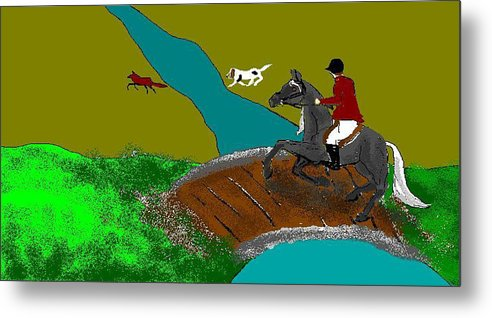 Horses Metal Print featuring the digital art Out-foxed by Carole Boyd
