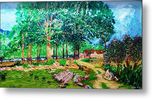 Tree Metal Print featuring the painting Quiet Countryside by Narayan Iyer