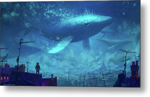 Whale Metal Print featuring the digital art Whale by Dorothy Binder