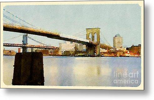 Seaport Metal Print featuring the digital art Water Color New York City Scene by Trentemoller