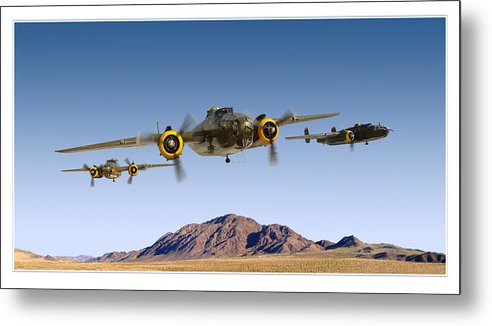 B-25 Mitchell Bomber Framed Prints Metal Print featuring the photograph B-25 Mitchell Bomber by Larry McManus