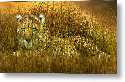 Cheetah Metal Print featuring the mixed media Cheetah - In The Wild Grass by Carol Cavalaris