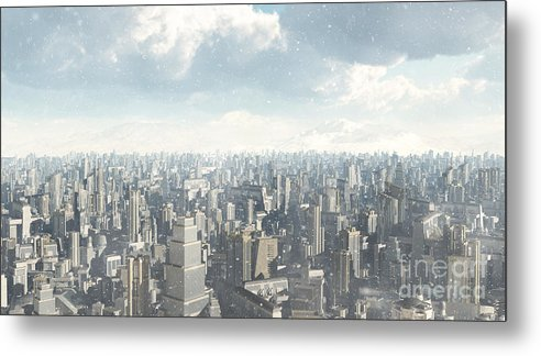 Science Metal Print featuring the digital art Future City Snow by Fairy Fantasies