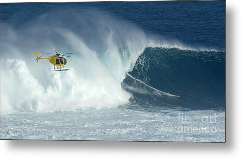 Laird Hamilton Metal Print featuring the photograph Laird Hamilton Going Left At Jaws by Bob Christopher