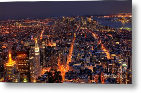 American Culture Metal Print featuring the photograph New York City At Night by Oscar Gutierrez