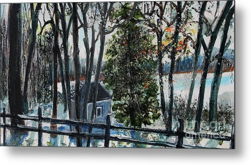 Walden Pond Metal Print featuring the painting Out Of The Woods At Walden Pond by Rita Brown