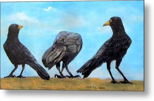 Crows Metal Print featuring the painting Something To Crow About by Janet Sheen