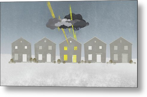 Horizontal Metal Print featuring the digital art A Row Of Houses With A Storm Cloud Over One House by Jutta Kuss