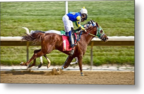 Race Track Horse Horseracing Delaware Jockeys Metal Print featuring the photograph Close by Alice Gipson