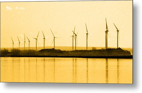 Windmill Metal Print featuring the photograph Golden Windmills by Beverly Kobee