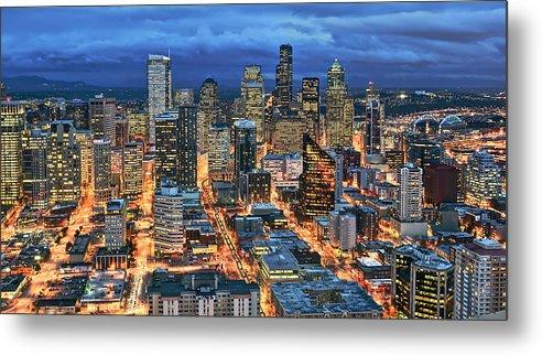 Horizontal Metal Print featuring the photograph Illuminated Of Downtown Seattle by Stephen Kacirek