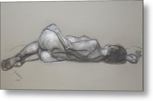 Realism Metal Print featuring the drawing Rose Reclining by Donelli DiMaria