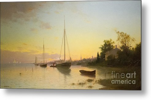 Evening Metal Print featuring the painting Evening by Celestial Images