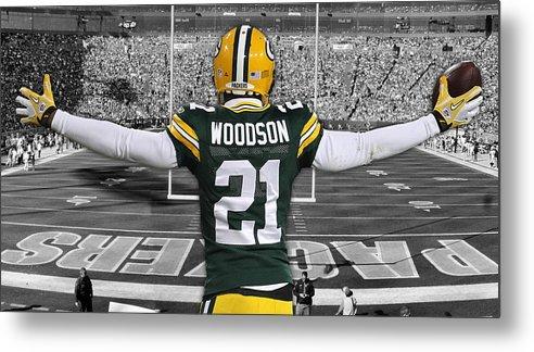 premium selection 4cf6b b48cf Charles Woodson Green Bay Packers Stadium Art 2 Metal Print