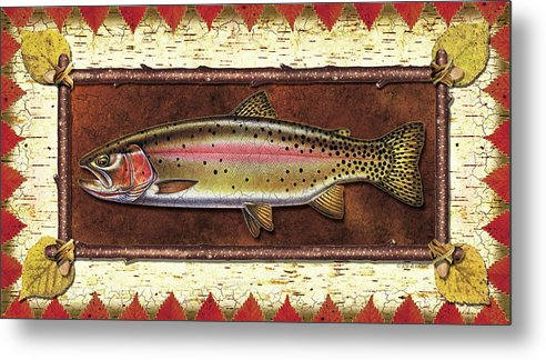Trout Metal Print featuring the painting Cutthroat Trout Lodge by JQ Licensing