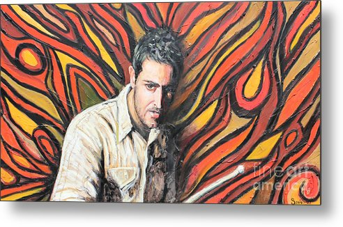 Latin Metal Print featuring the painting Drummin by Sonia Flores Ruiz