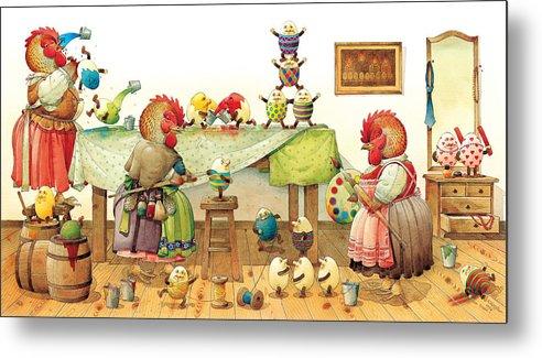 Eggs Easter Metal Print featuring the painting Eggs Dyeing by Kestutis Kasparavicius