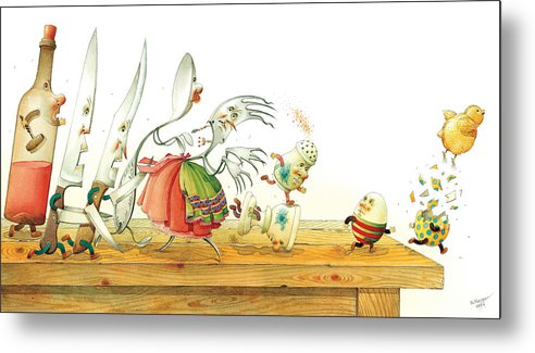 Eggs Easter Liberty Metal Print featuring the painting Eggs Liberty by Kestutis Kasparavicius