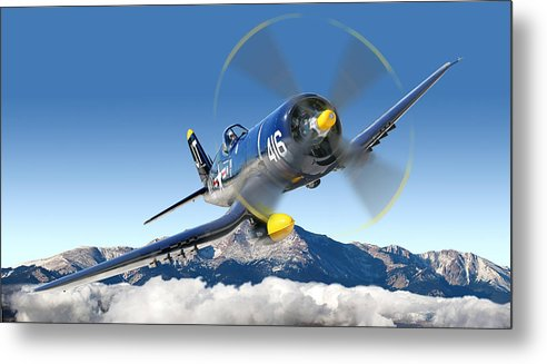 F4-u Corsair Metal Print featuring the photograph F4-u Corsair by Larry McManus