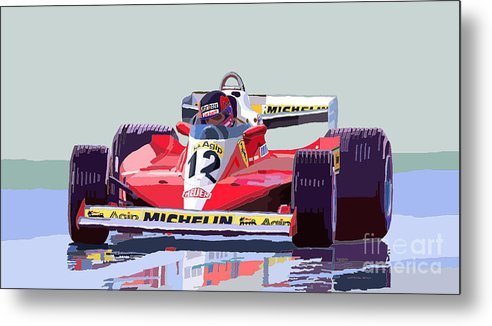 Automotiv Metal Print featuring the digital art Ferrari 312 T3 1978 Canadian Gp by Yuriy Shevchuk