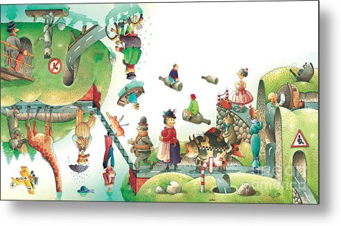 Travel Lanscape Green Metal Print featuring the painting Lazinessland06 by Kestutis Kasparavicius