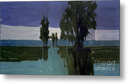 Nocturne Metal Print featuring the painting Lights On The Horizon by Donald Maier