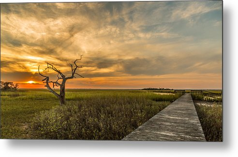 Dewees Island Metal Print featuring the photograph Lone Cedar Dock Sunset - Dewees Island by Donnie Whitaker