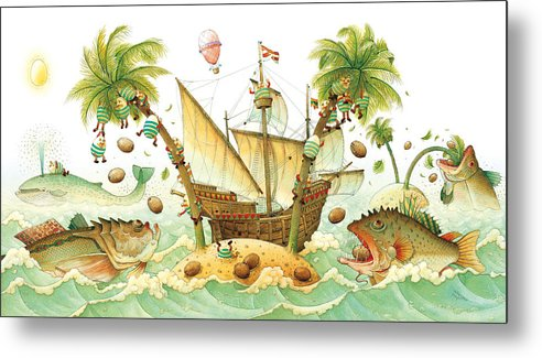 Eggs Easter Marine Metal Print featuring the painting Marine Eggs by Kestutis Kasparavicius