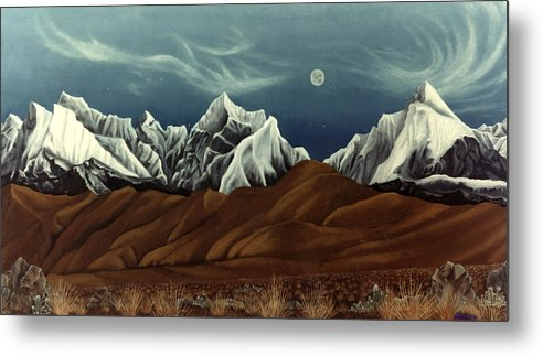 Andes Mountains Metal Print featuring the painting New Years Moon Over Cojata Peru by Anastasia Savage Ealy