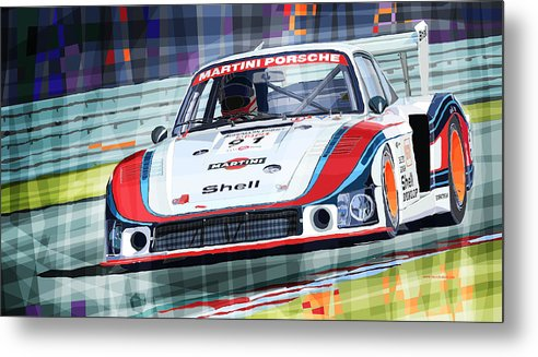 Automotive Metal Print featuring the drawing Porsche 935 Coupe Moby Dick Martini Racing Team by Yuriy Shevchuk