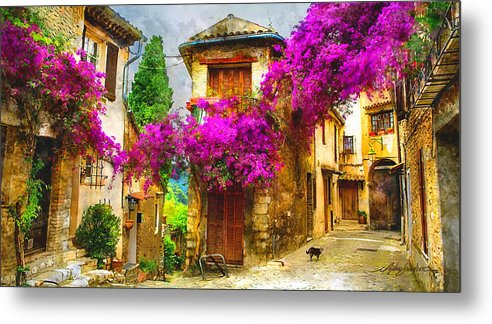 Provence Metal Print featuring the painting Provence Street by Michael Shifflett