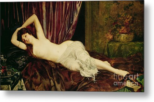 Reclining Metal Print featuring the painting Reclining Nude by Henri Fantin Latour