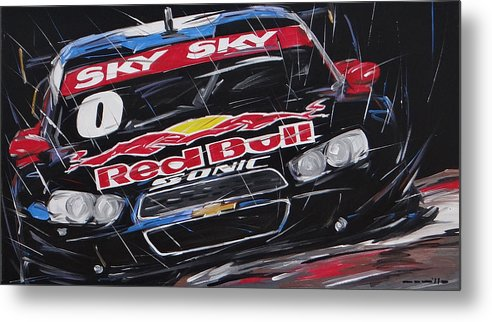 Cars Metal Print featuring the painting Stock Car Brasil Caca Bueno by Roberto Muccilo