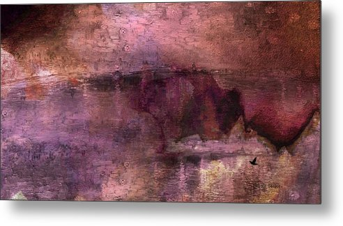 Abstract Metal Print featuring the mixed media Unexpected Flight Into The Past by Lenore Senior