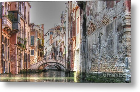 City Metal Print featuring the pyrography Venice Channelss by Yury Bashkin