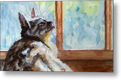 Cat Metal Print featuring the painting Watching The Rain by Jim Phillips