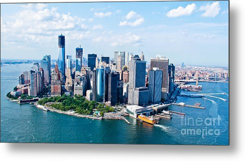 Blue Sky Metal Print featuring the photograph New York City Sky View by Rene Pi