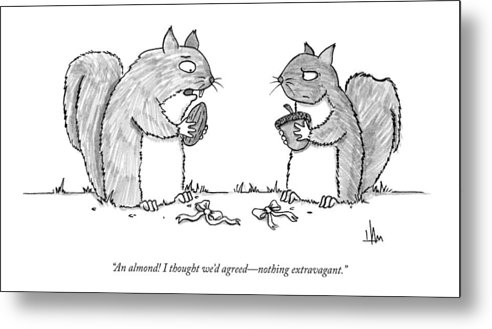 Exchanging Gifts Metal Print featuring the drawing A Squirrel Couple Exchange Gifts Of An Acorn by Andrew Hamm