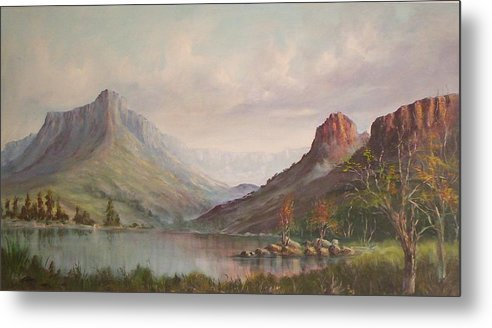 Mountains Metal Print featuring the painting By The Riverside by Rita Palm