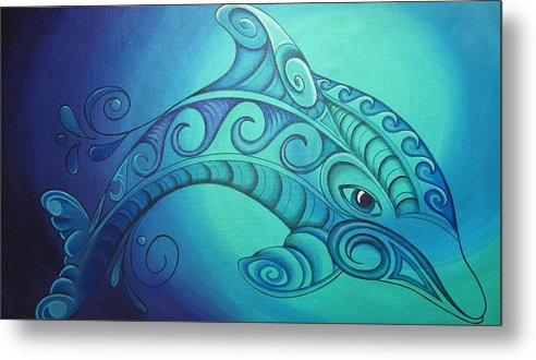 Dolphin Metal Print featuring the painting Dolphin by Reina Cottier