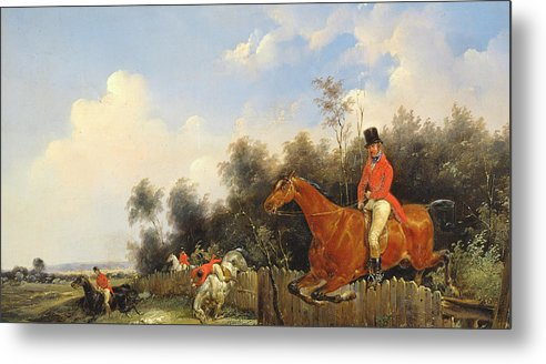 Scene De Chasse; Hunter; Hunters; Huntsman; Hunt; Riding; Horse; Rider; Outfit; Jumping; Fence; Landscape Metal Print featuring the painting Hunting Scene by Bernard Edouard Swebach