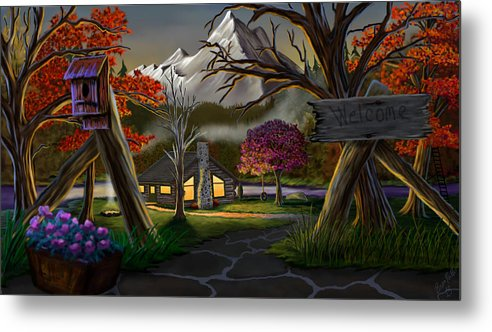 Nature Metal Print featuring the painting Jeans Cabin Welcome by Brien Miller